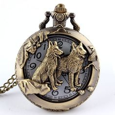 Antique Bronze hound Dog Pooch Icon Quartz Pocket Watch Necklace Chain Retro Pendant High Quality Watch for Mens Childs Pocket Watch Mens, Steampunk Pocket Watch, Pocket Watch Antique, Pocket Watch And Chain, Cooler Stil, Watch Gift Box, Wolf Jewelry, Men's Jewelry, Jewelry Accessories
