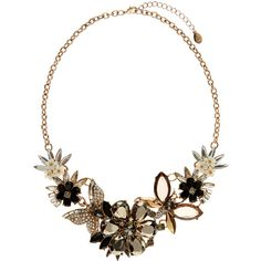Accessorize Flower And Bug Statement Collar Necklace (64 CAD) ❤ liked on Polyvore featuring jewelry, necklaces, blossom jewelry, gold tone jewelry, evening jewelry, accessorize jewellery y special occasion jewelry