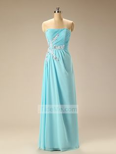 Blue Cheap Chiffon Scoop Neck Custom High Quality Sheath Floor Length Bridesmaid Dress Prom Dress Evening Dress