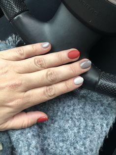 Red grey nails
