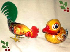"""LEMP PABST EST. """"SET OF 2"""" ADORABLE  VINTAGE COLLECTIBLE TIN TOYS (PAAK- PAK DUCK & HUNT & PECK ROOSTER).  Perfect gift idea or to add a conversation piece and a touch of nostalgia to your home décor.  LEMP PABST EST. """"SET OF 2"""" ADORABLE VINTAGE COLLECTIBLE TIN TOYS (PAAK- PAK DUCK & HUNT & PECK ROOSTER) ♥♥♥"""