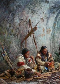 Native Americans sitting inside a cave Native American Models, Native American Paintings, Native American Pictures, Native American Beauty, American Indian Art, Native American History, Indian Paintings, American Indians, Geronimo
