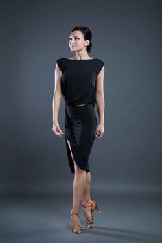 Sexy latin dance skirt in black from Dancewear For You Australia