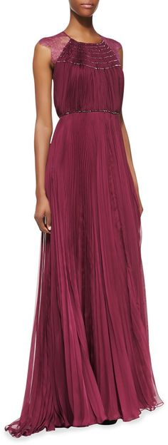 Catherine Deane Patsy Silk & Lace Cap-Sleeve Gown, Magenta on shopstyle.com //Can be found on Rent the Runway!!! for under $100