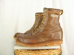 Sz 8.5 Extra Wide Vintage Brown Leather CHUKKA by ManeaterVintage, $50.00 vintage fashions cowboy western chukka work hunting roper slip on rodeo harness motorcycle boots Christmas gifts December finds etsy treasury photos