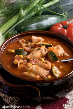 Italian Fish Stew - A taste of the coast in a bowl! Tender chunks of white fish in a tomato broth with fresh garden vegetables. Wonderful with warm crusty bread! Fish Recipes, Seafood Recipes, Soup Recipes, Healthy Recipes, Italian Fish Stew, Italian Tomato Sauce, Cabbage And Noodles, Fried Cabbage, Seafood Stew