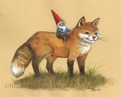 Young Gnome and Fox Painting by bluebirdiesinger on Etsy
