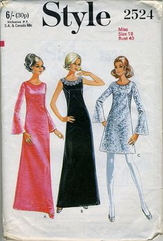 Style 2524 ALine Dress Pattern in Two by madelainelyonscooper, $8.00