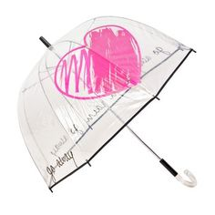 Rain Rain Go Away Umbrella. The traditional childhood rhyme gets some grown-up play with this clear vinyl umbrella. Even if the words don't chase the clouds away, this cheery retro style will keep you dry no matter how persistent the rain is. $75.00