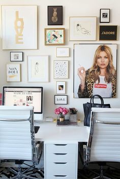 Love this office featuring Kate Moss