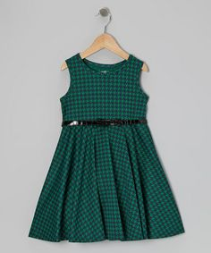 Take a look at this Green & Black Houndstooth Dress - Girls by Marmellata on #zulily today! $24.07