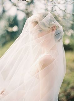 Romantic Veiled Bride | Rylee Hitchner Photography | Blooming Spring Orchard Wedding