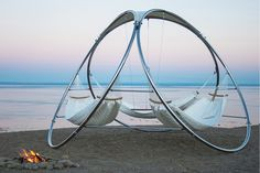 Triple Hammock from Trinity Hammocks - Design Milk Outdoor Spaces, Outdoor Living, Architecture Cool, Garden Architecture, Outdoor Hammock, Portable Hammock, Diy Hammock, Backyard Hammock, Hammock Chair