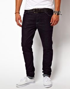 ASOS Premium Skinny Jeans In Indigo. Really attractive jeans. Great detailing on the pockets without being to flashy or feminine. Cuffing jeans is a must for looking good.