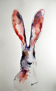 Hare watercolor painting  original. Unusual by AlisaAdamsoneArt