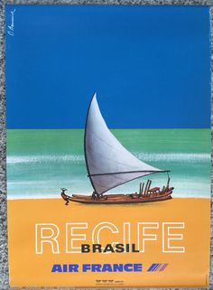 Original Travel Poster Brazil Air France Recife Pernambuco Sea Affiche Ancienne #Vintage