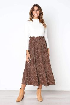 Harajuku Pleated Skirt Spring NewComing Printed Pattern High Elasticity Pleated Skirt High Street ALine MidCalf Size S Color brown Maxi Skirt Outfits, Long Maxi Skirts, Modest Outfits, Modest Fashion, Fashion Outfits, Midi Skirts, Modest Clothing, Maxi Skirt Outfit Summer, Long Skirt Outfits For Summer