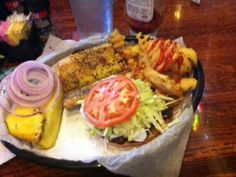 Lemon-Peppered Mahi fish sandwich with side of fries