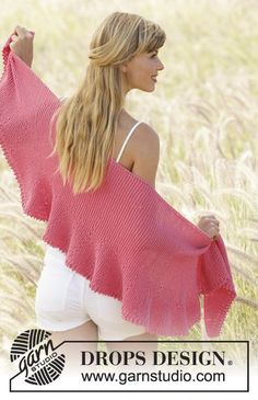 """Pink Sorbet - Shawl in garter st with short rows and picot edge in """"Cotton Merino"""". Free #knitting pattern"""