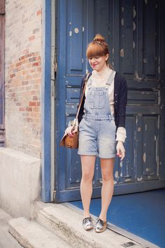 silver shoes and overalls