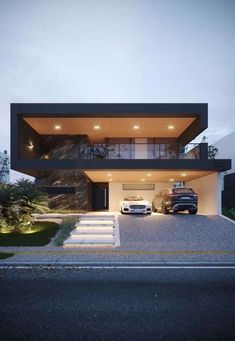 Flat Roof House Designs, House Front Design, Modern House Design, Design Garage, Luxury Modern House, Modern House Facades, Modern Architecture House, Architecture Design, Computer Architecture
