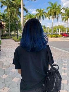 Blue balayage on my virgin hair : FancyFollicles Blue Hair Streaks, Blue Ombre Hair, Hair Color Purple, Hair Dye Colors, Hair Color For Black Hair, Cool Hair Color, Blue Hair Highlights, Dark Blue Hair Dye, Peekaboo Hair Colors
