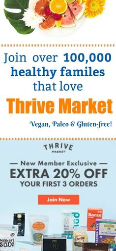 Tired of paying an arm and a leg fro healthy food and products for your family? Thrive market helps make healthy living easy and accessible for over 100k healthy families. Join today and get 20% off your FIRST 3 ORDERS! Vegan   Gluten-free   Paleo   Organic #affiliate #healthyliving #veganfood #fooddelivery #healthyfamily #vegan #glutenfree #paleo #collegevegan #plantbased #organic #veganfriendly #savemoney #budgetfriendly
