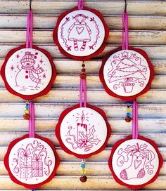 PATTERN - More Jingly Dangly Things - sweet redwork Christmas ornaments PATTERN - Country Keepsakes