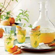 Peach Mojitos Recipe: 2 large peaches (about 1 lb.), unpeeled and chopped; 1/2 cup superfine sugar; 1/4 cup fresh lemon juice (about 1 lemon); 1/2 cup firmly packed fresh mint leaves; 4 cups club soda, chilled; 2 cups white rum; Garnishes: fresh mint sprigs, peach wedges