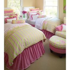 Preppy pink and green girls room: