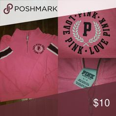 Victoria Secret pullover 3/4 zip pullover (boyfriend style) worn well still have many miles to go?? Victoria's Secret Tops Sweatshirts & Hoodies