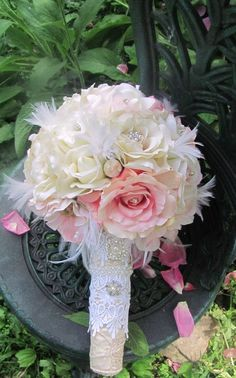 Peachy Pink Sweet Georgia Bouquet 2 by OnceUponTimeWEdding on Etsy