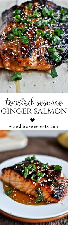 toasted sesame ginger salmon by @howsweeteats I http://howsweeteats.com #salmon #healthy #recipes #ginger #sesame