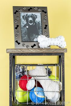 This eye-catching shelf is an easy, accessible spot to store your pup's treats, leash and toys in one place!