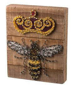 This Queen Bee String Art Block Sign is perfect! #zulilyfinds