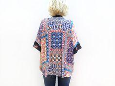 Aztec Summer Kimono Cover Up, Boho Kimono, Light Summer Jacket, Short Kimono