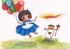 《愛麗絲的畫筆》愛麗絲拿起畫筆,又一次回到夢中的仙境,這次她沒遇見討厭白色的紅心皇后,而是與撲克牌小兵一起跳著舞,歡笑聲多麼迷人!  突然,氣球冉冉升起,帶著愛麗絲回到充滿陽光的大樹下,愛麗絲手上依然拿著畫筆,還有放在腿上已完稿的畫本。_2012