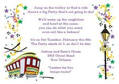 lots of original New Orleans street car stylish invitation for Mardi Gras party and matching thank you Mardi Gra cards at CardsShoppe