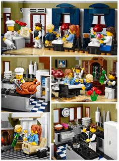 """Lego Creator Parisian Restaurant 10243 Over 2000 pieces, """"advanced"""" level, my most FAVORITE build yet! EVERYTHING about this set is adorable! All Lego, Lego For Kids, Lego Lego, Lego Batman, Lego Furniture, Minecraft Furniture, Lego Creator Sets, Lego Pictures, Lego Craft"""