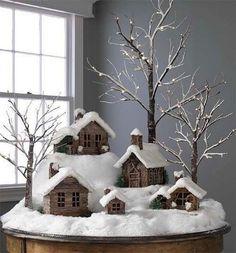 A Home Made Log Cabin Putz Scene. Beautiful,