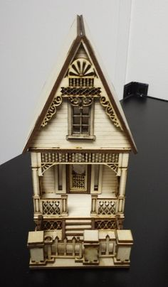 Little Ann Victorian Cottage 1 48 Scale Dollhouse | eBay  Cut by lasers, wonderful detail  (Laser Dollhouse Designs)