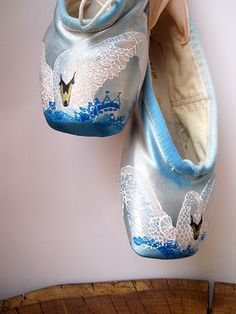 Swan Pointe Shoes Hand Dyed by KiteFlyerArt on Etsy, $90.00