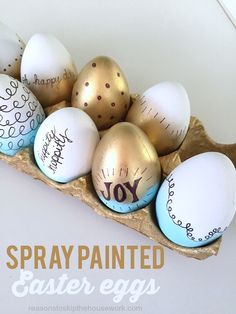 Spray Painted Easter Eggs http://www.reasonstoskipthehousework.com/spray-painted-easter-eggs/