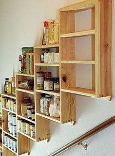 Pantry shelves over the basement