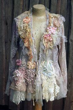 Vanilla lace jacket ornate lacey jacket L size bohemian