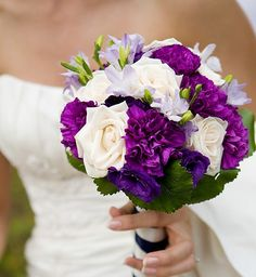white, green and purple bouquet