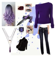 """""""Purple girl (fnaf genderbend)"""" by the-violet-flower on Polyvore featuring Jacquemus, LOVE INDIGO and New Look"""