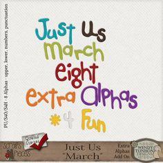 Just Us *March* Extra Alphas [wt_JUMarEA] - $2.79 : Scraps N Pieces Store #digitalscrapbooking #scrapbooking #scrapsnpieces