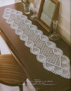 Octopus Crochet Pattern, Crochet Table Runner Pattern, Free Crochet Doily Patterns, Filet Crochet Charts, Crochet Designs, Crochet Home, Crochet Crafts, Lace Runner, Japanese Crochet