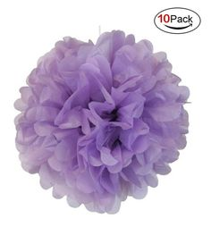 LOOTO 10pcs Crafts Pom Poms/ Tissue Paper Flowers (Light purple) -- Awesome products selected by Anna Churchill